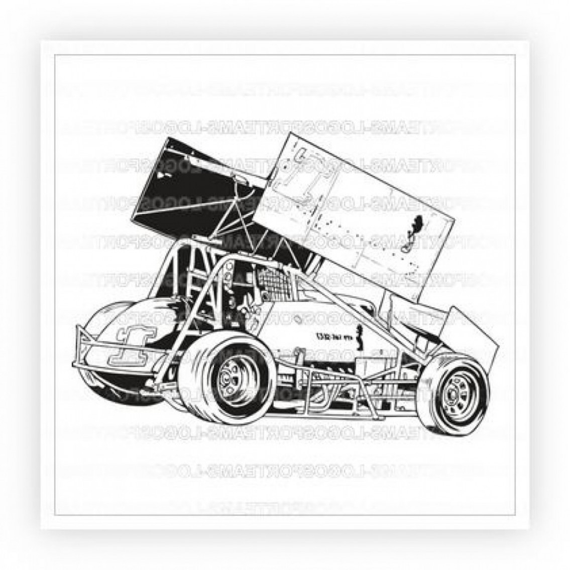 Black And White Vector Racing Graphics: Sports Logo Part Of Black White Sprint Car Race Racing Graphic In Vector Format