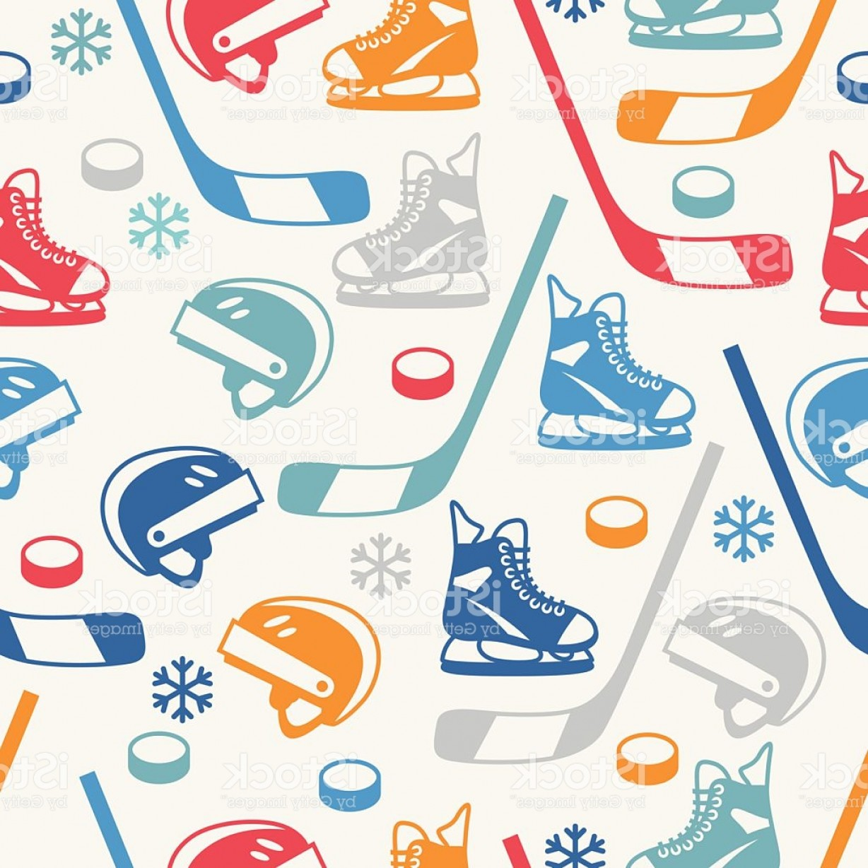 Hockey Vector Patterns: Sports Seamless Pattern With Hockey Equipment Flat Icons Gm