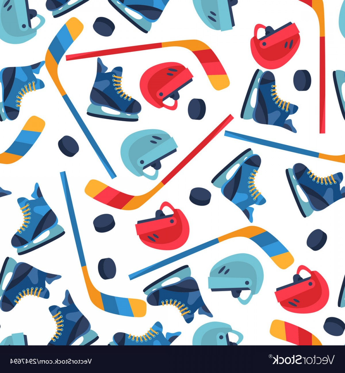 Hockey Vector Patterns: Sports Seamless Pattern With Hockey Equipment Flat Vector