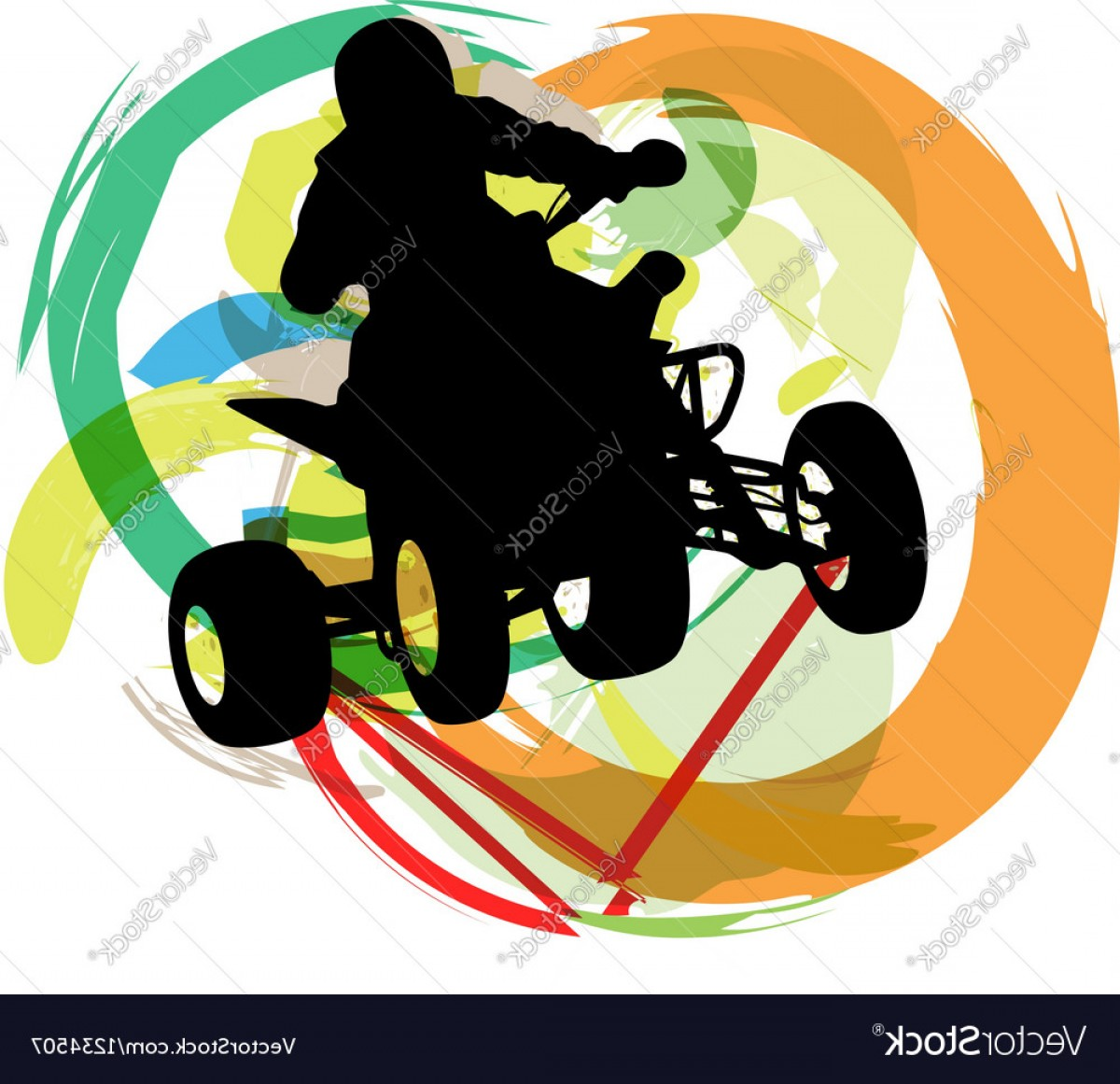 ATV Rider Vector: Sportsman Riding Quad Bike Vector