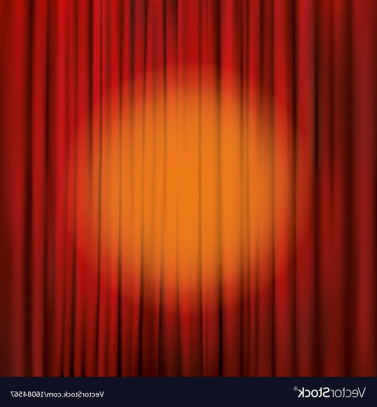 Stage Curtain Vector: Spotlight On A Red Stage Curtain Vector