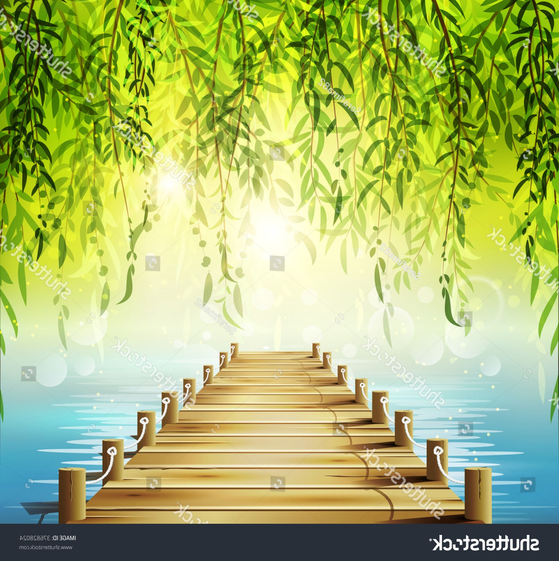 Vector Natural Willow: Spring Background Weeping Willow Lake Pier