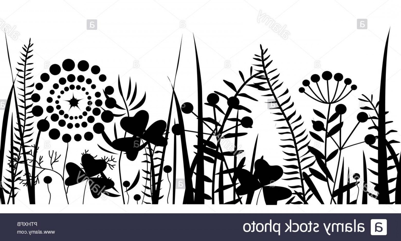 Spring Vector Silhouette: Spring Black Grass Silhouette Seamless Background Vector Pattern For Eco Nature Design Image