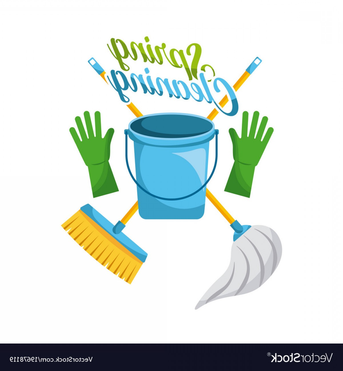 Mop And Bucket Clip Art Vector: Spring Cleaning Bucket Gloves Mop And Broom Vector