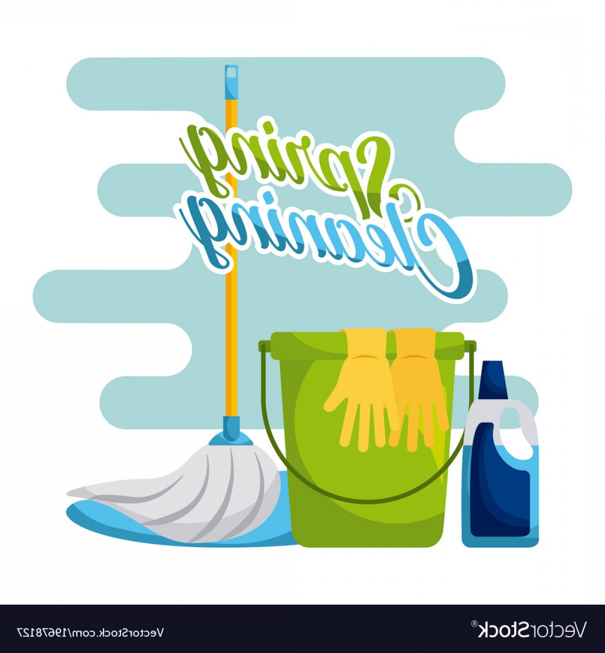 Mop And Bucket Clip Art Vector: Spring Cleaning Bucket Mop Gloves And Cleaning Vector