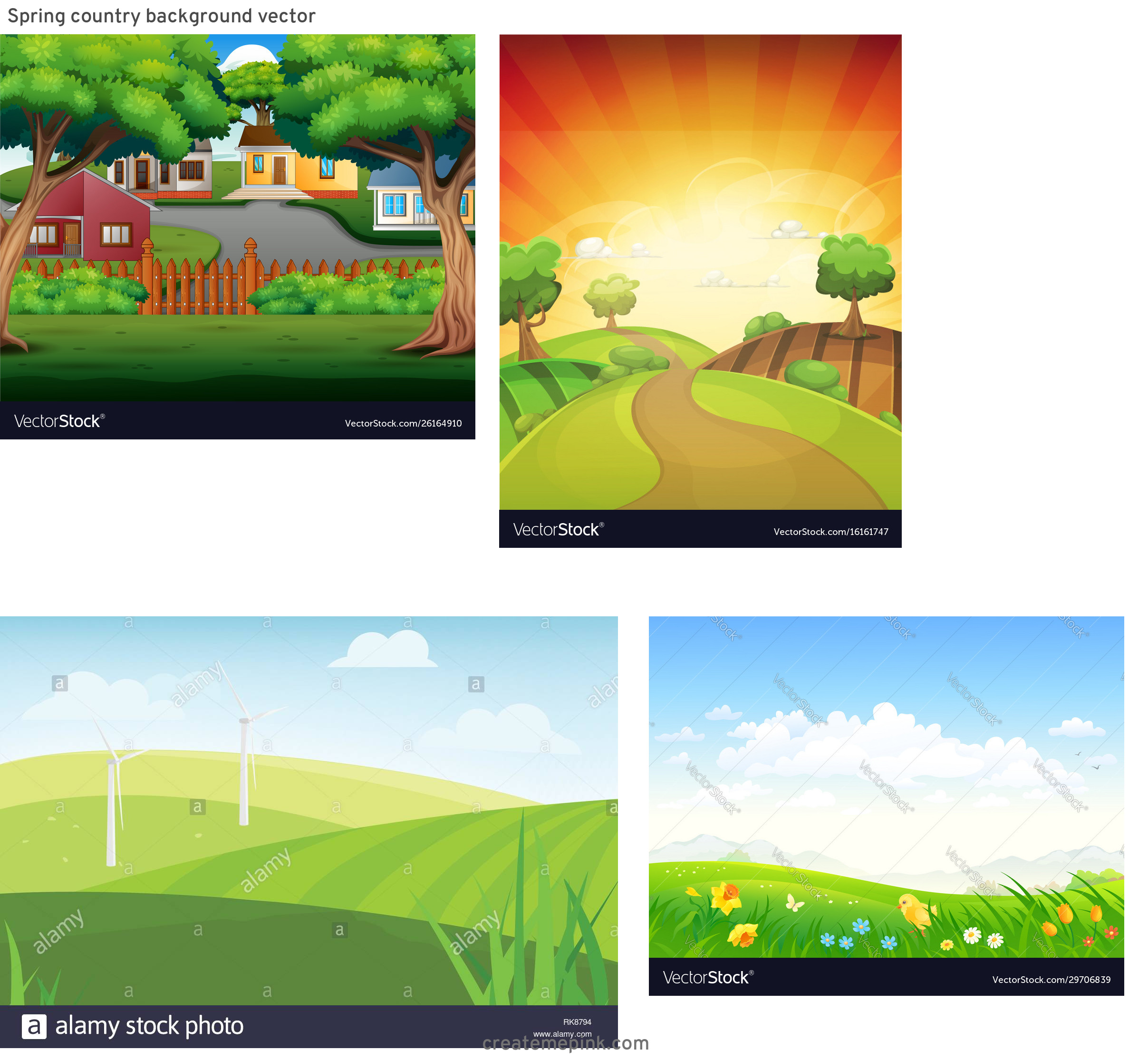 Country Background Vector: Spring Country Background Vector