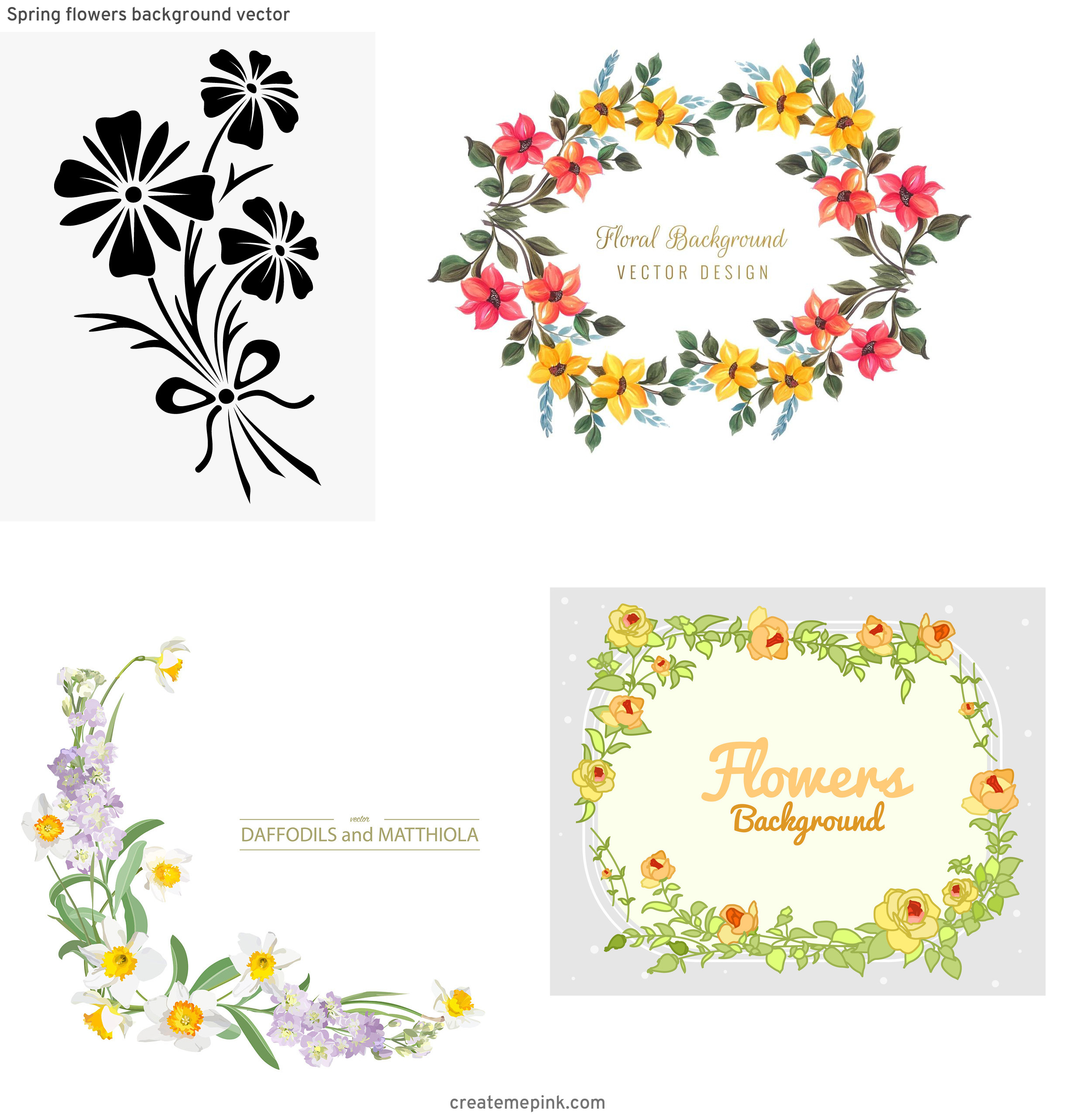 Vector Graphics Floral: Spring Flowers Background Vector