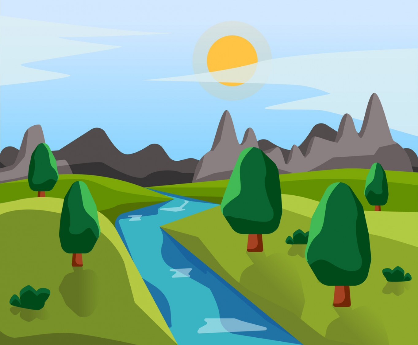 River Vector Art: Spring Landscape With River Vector