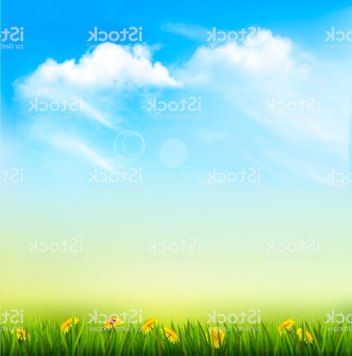 Vector Natural Background Sky: Spring Nature Background With A Green Grass And Blue Sky Gm
