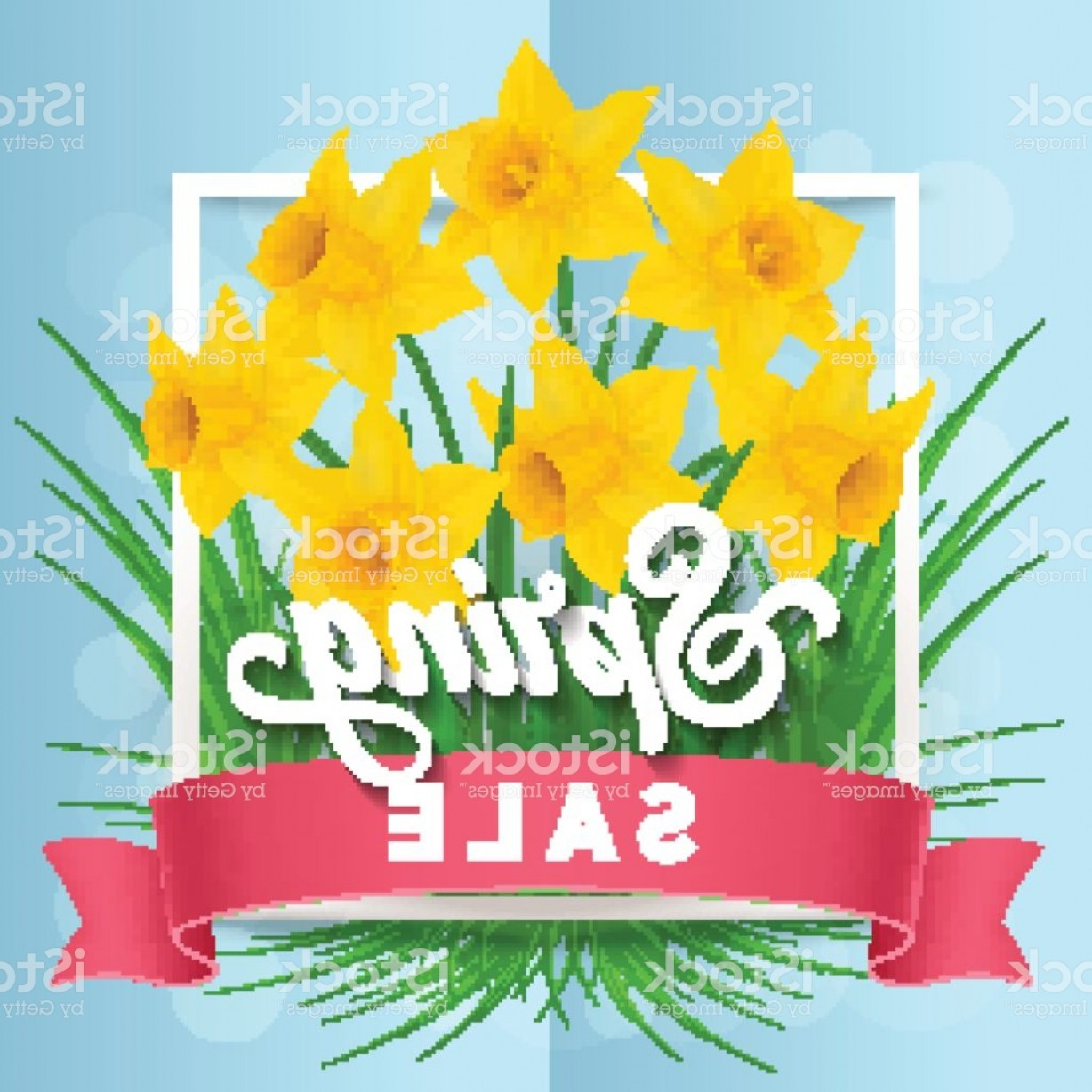 Vector Flower Band: Spring Sale Lettering In Cadre With Band Gm