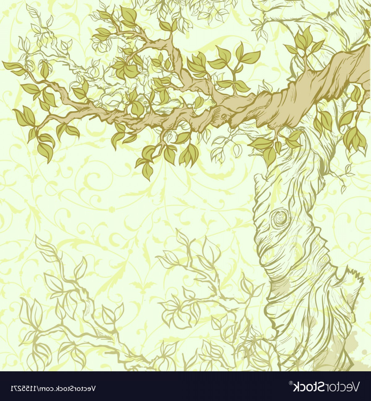 Tree Branch Vector Background: Spring Vintage Garden Background With Tree Branch Vector