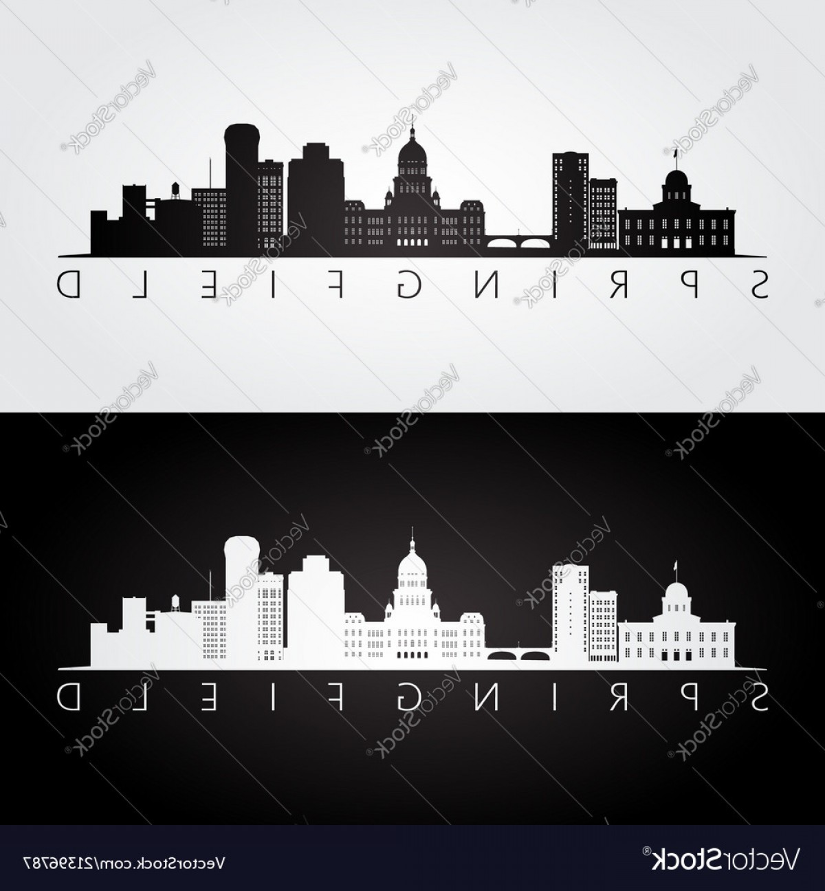 Wicked Boston Skyline Silhouette Vector: Springfield Usa Skyline And Landmarks Silhouette Vector