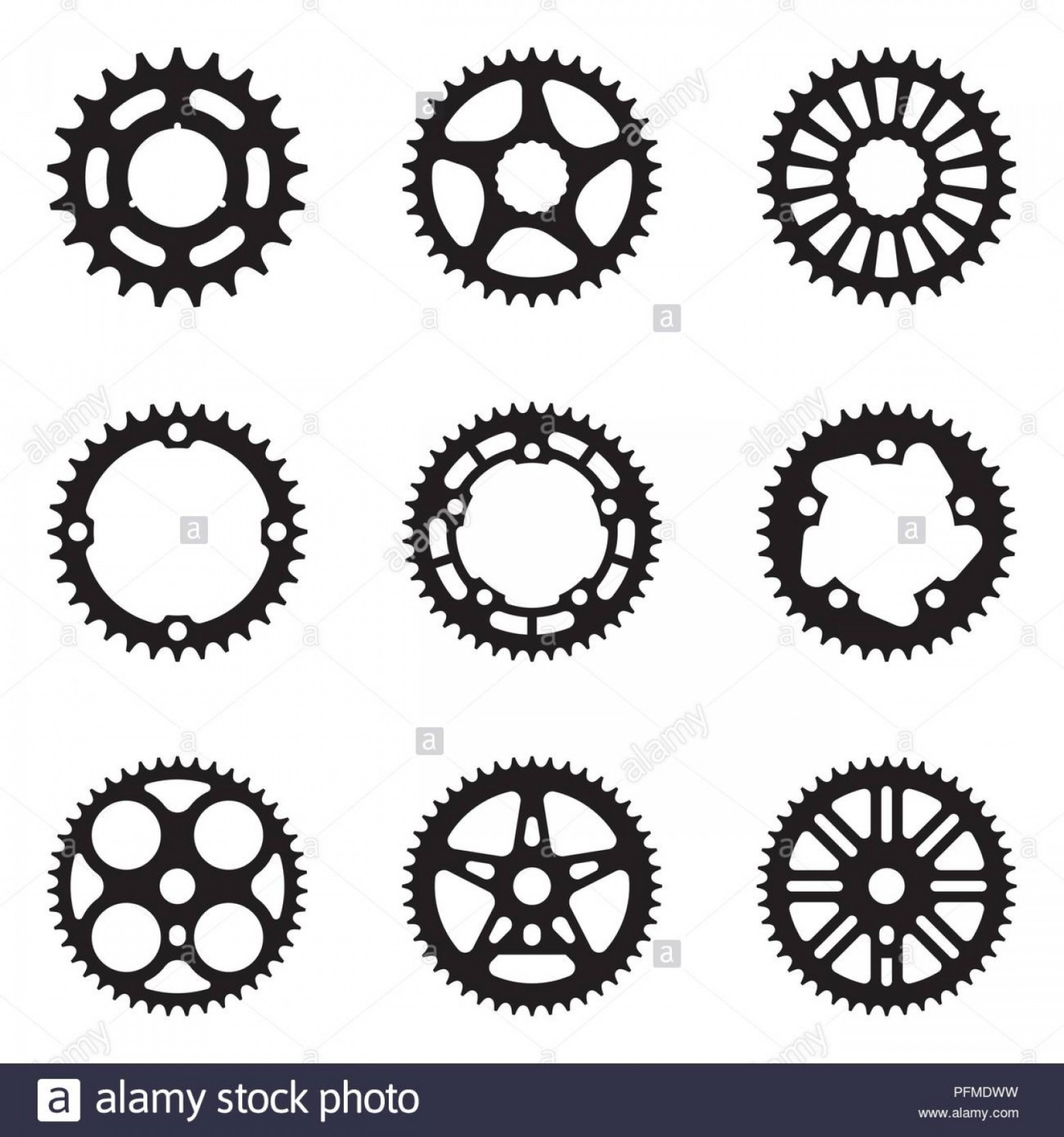 Bicycle Crank Vector Of Artwork: Sprocket Wheel Icon Set Bicycle Parts Silhouette Vector Image
