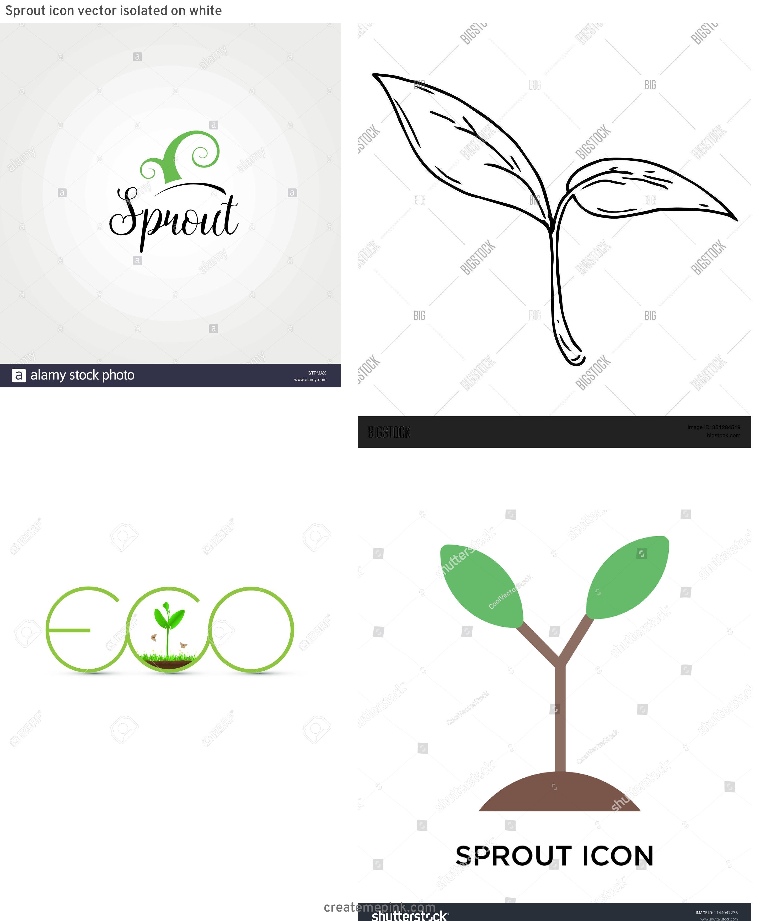 Sprout Icon Vector: Sprout Icon Vector Isolated On White