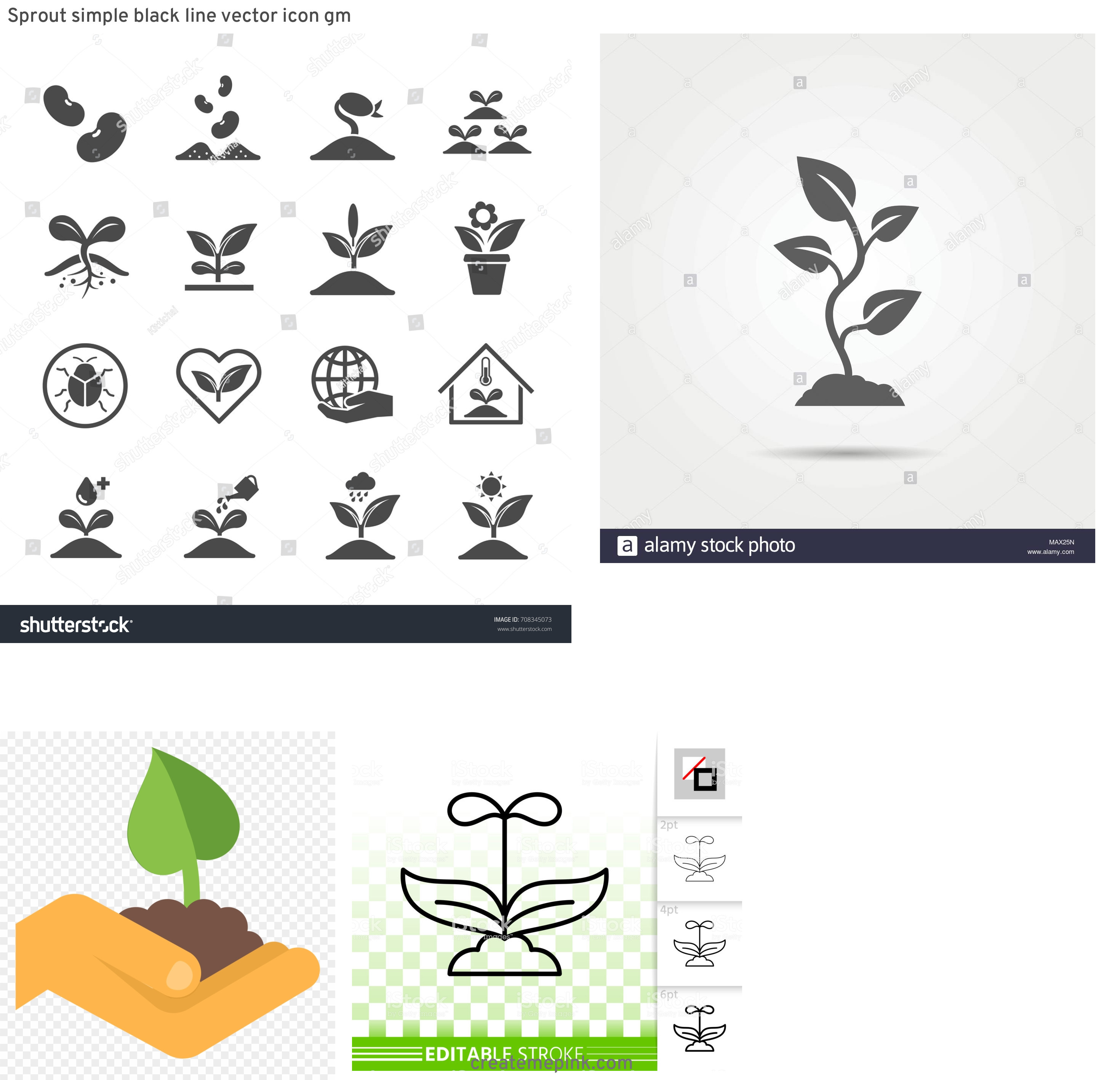Sprout Icon Vector: Sprout Simple Black Line Vector Icon Gm