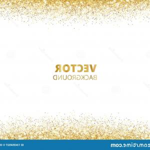 Glitter Border Vector: Sparkling Glitter Border Frame Falling Golden Dust Isolated White Background Vector Gold Glittering Decoration Sparkling Image