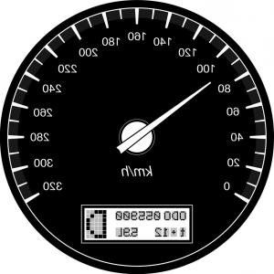 Speedometer Vector Illustrator: Analog And Futuristic Speedometer Or Gauge Vector