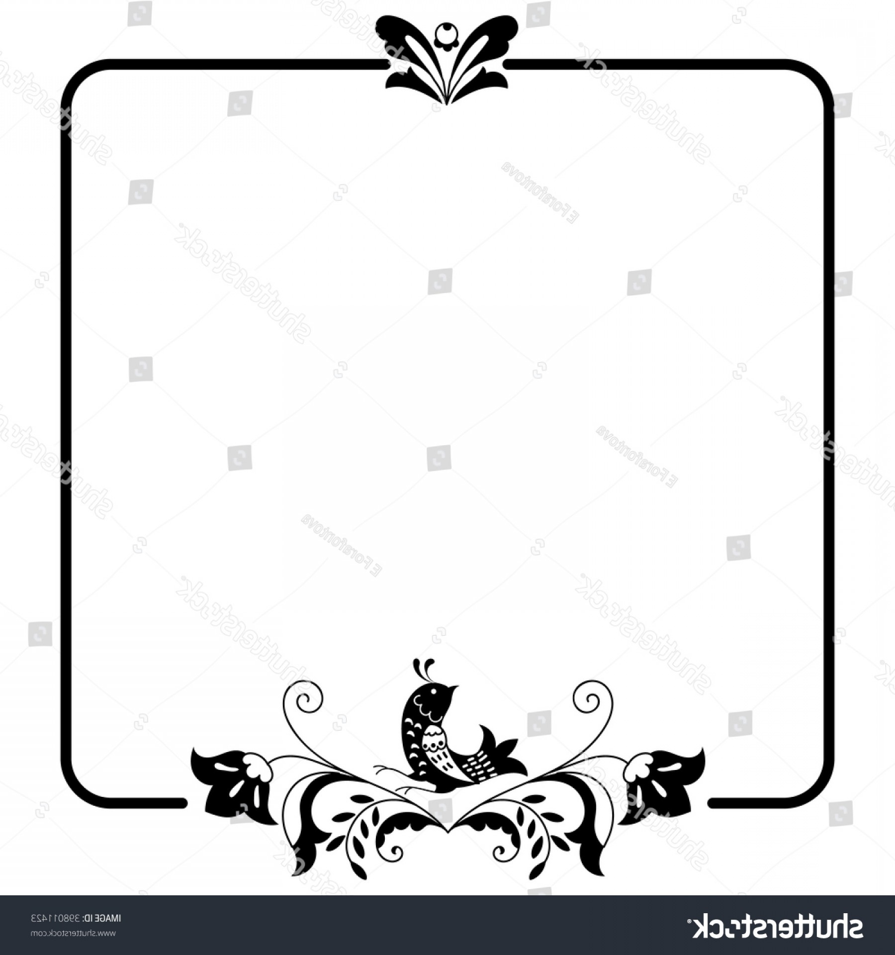 Square Black Vector Border Frame: Square Black White Border Frame Doodle