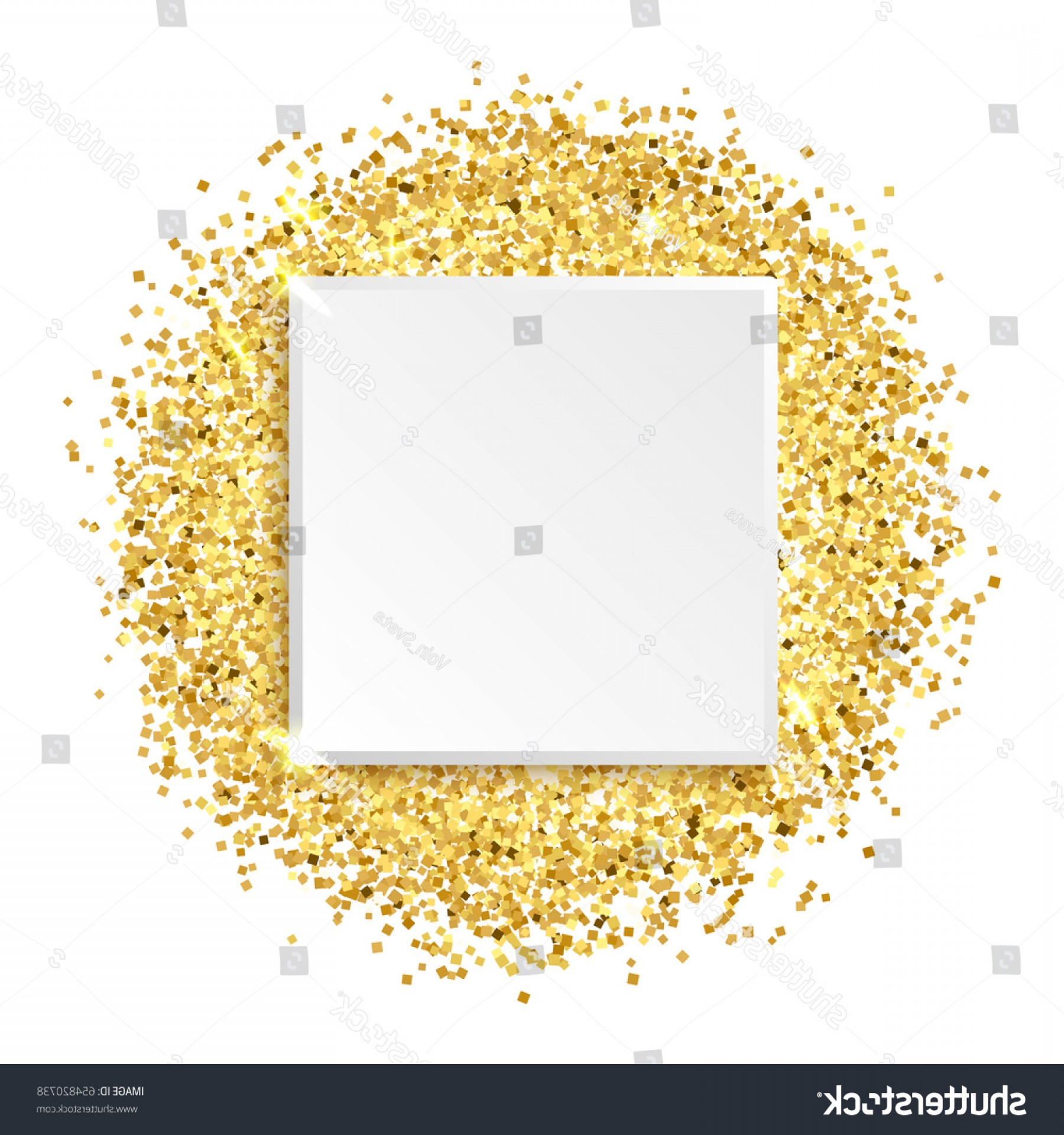 Square Gold Frame Vector PNG: Square Glitter Gold Frame Vector Illustration