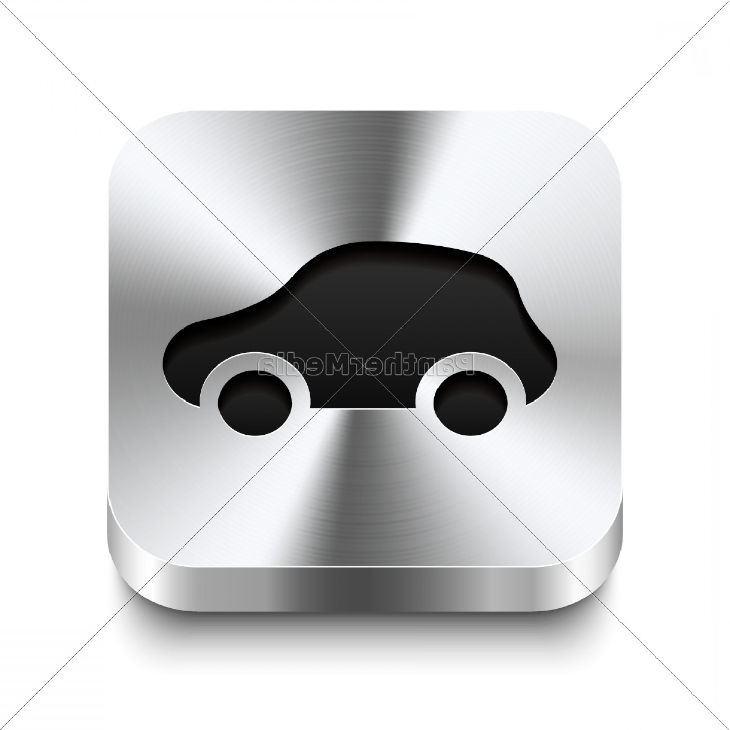 Metal Button Vector: Square Metal Button Perspektive Car