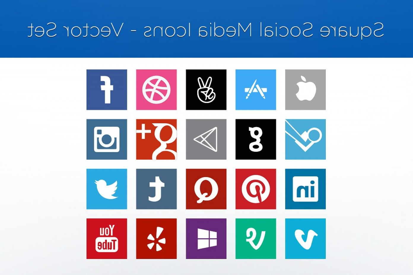 Pencil Icon Vectors Social Media: Square Social Media Icons Vector Set