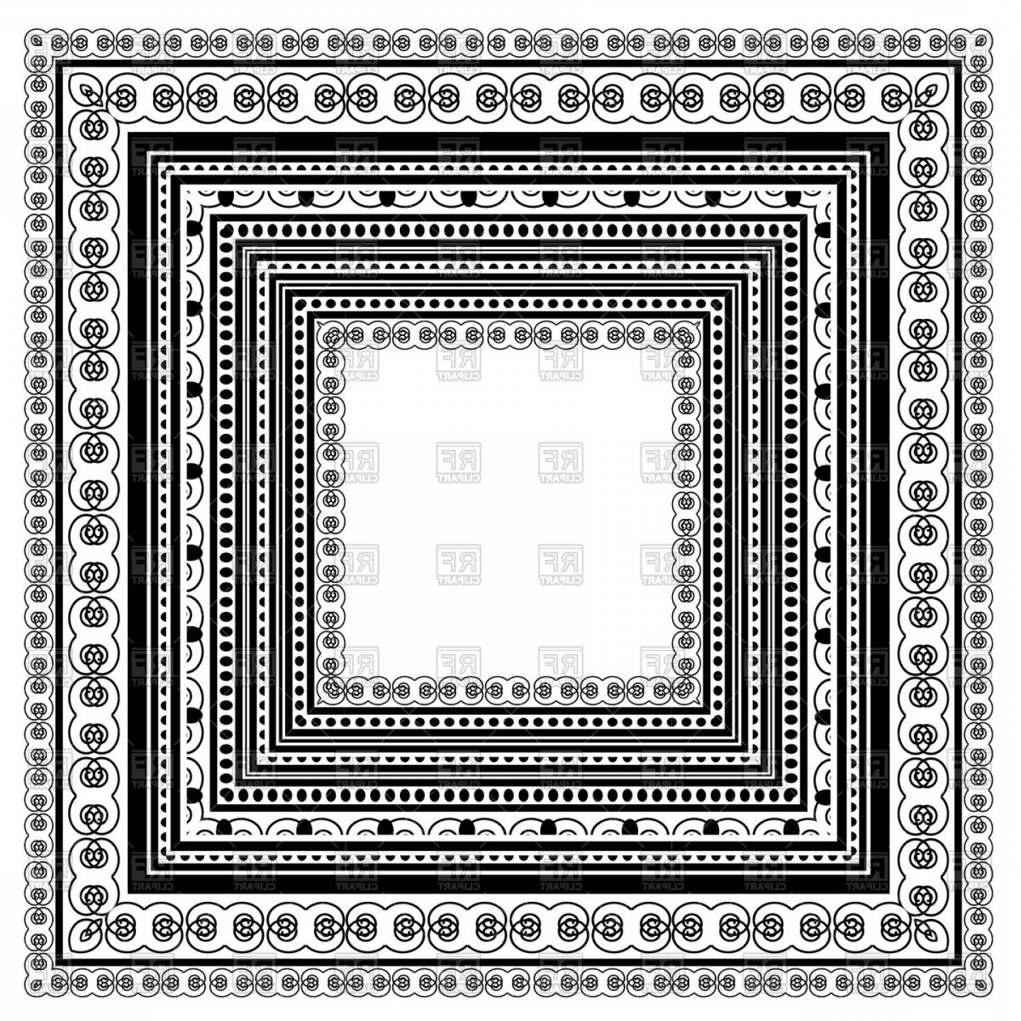 Square Black Vector Border Frame: Square Vintage Frame Vector Clipart