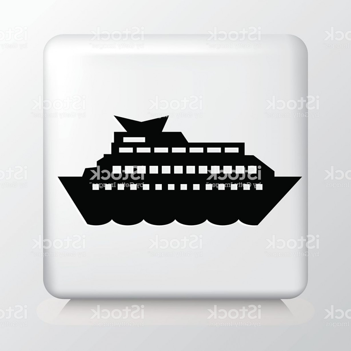 Waves With Cruise Ship Silhouette Vector: Square White Icon With Silhouette Cruise Ship In The Ocean Gm