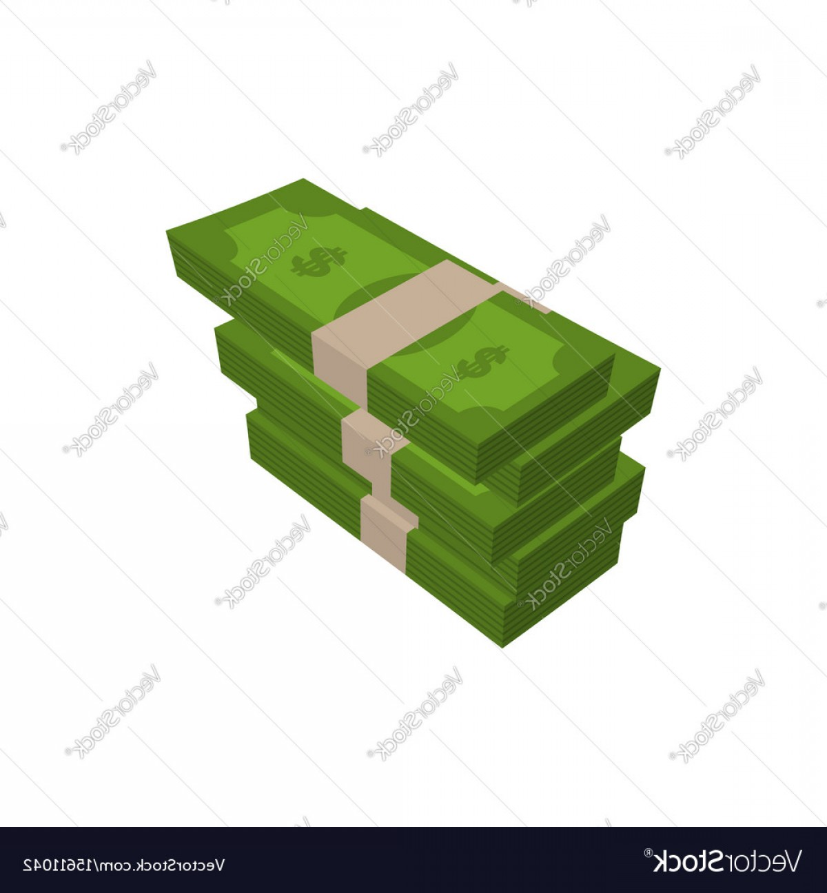 Hundreds Of Money Stacks Vector: Stack Of Money Isolated Pile Of Cash On White Vector