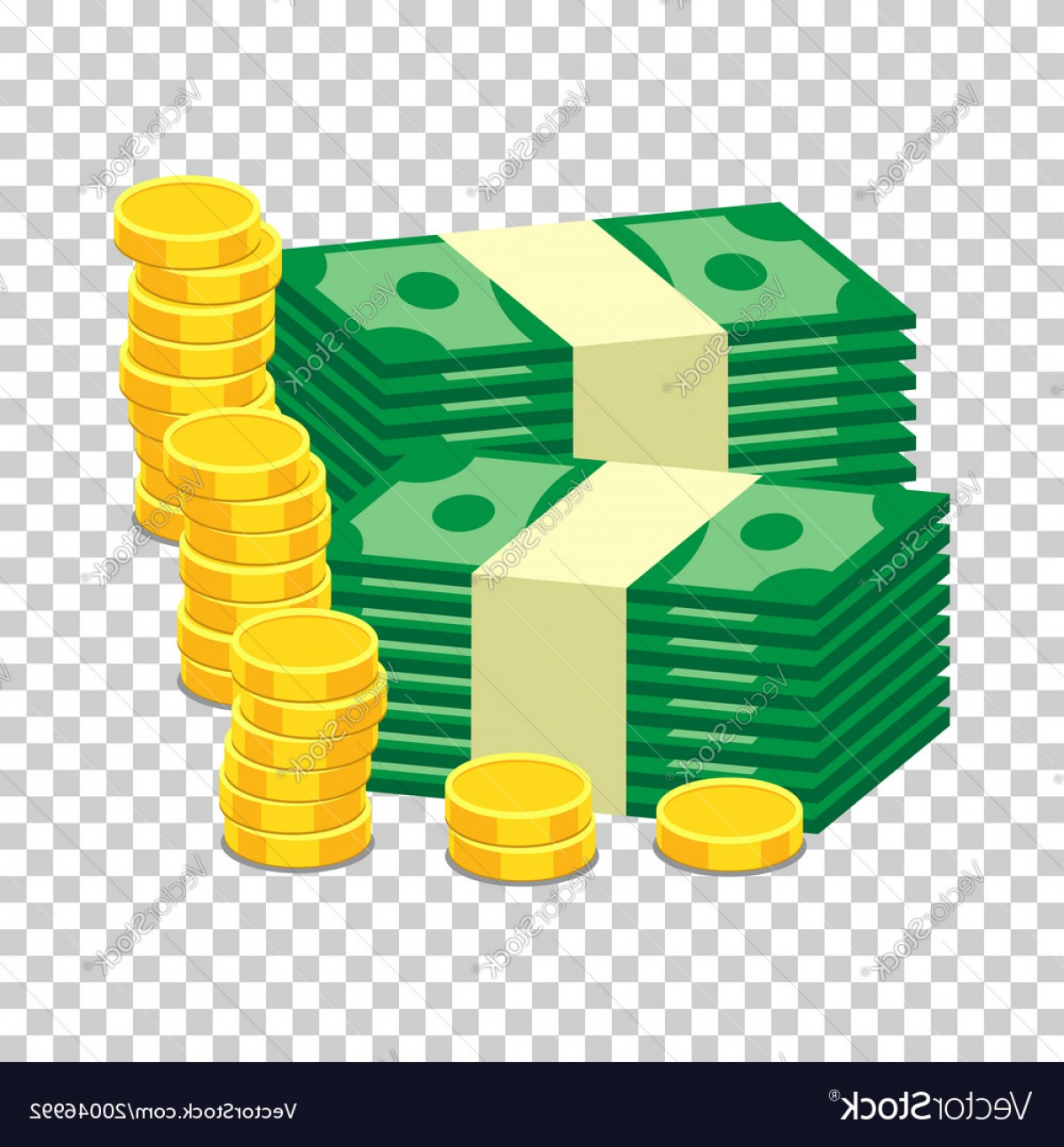 Hundreds Of Money Stacks Vector: Stacks Of Gold Coins And Stacks Of Dollar Cash In Vector
