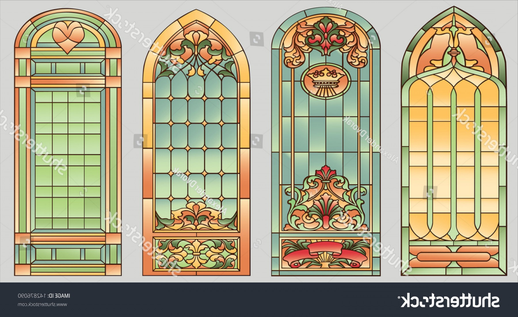 Arch Vector Illinios: Stainedglass Windows Flowers Hearts Crown