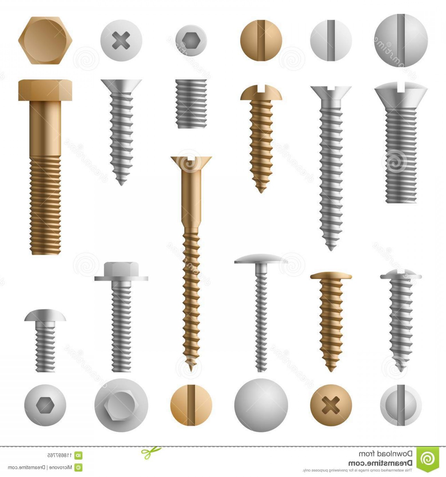 Screw Vector: Stainless Bolts Screws Nuts Fasteners Rivets Vector Illustration Isolated White Background Rivet Screw Bolt Steel Element Image
