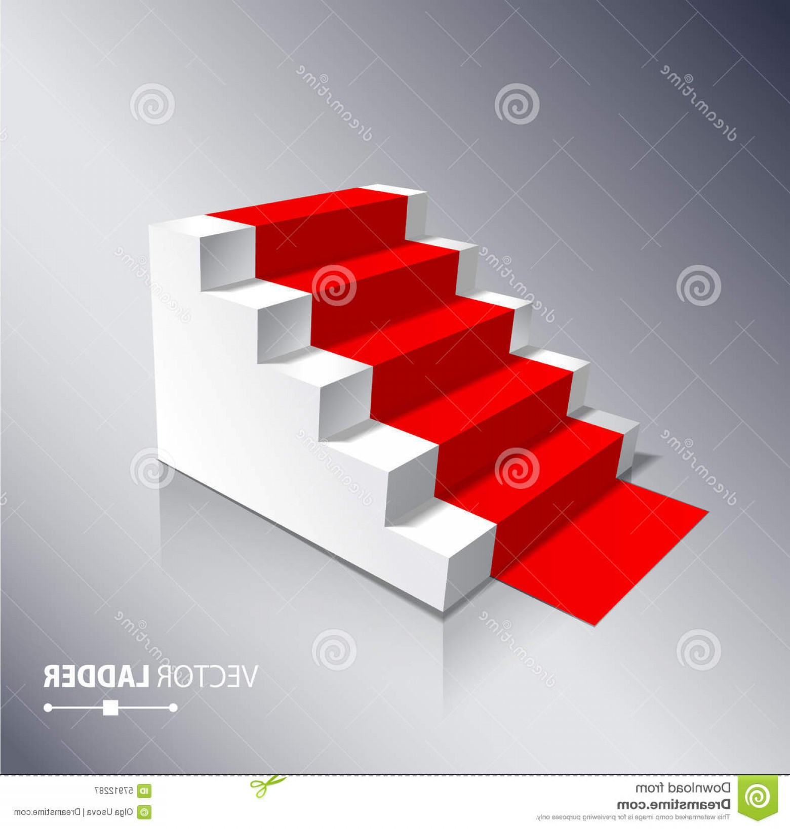 Carpet Vector 2D: Stairs On White Background With Red Carpet Steps Illustration