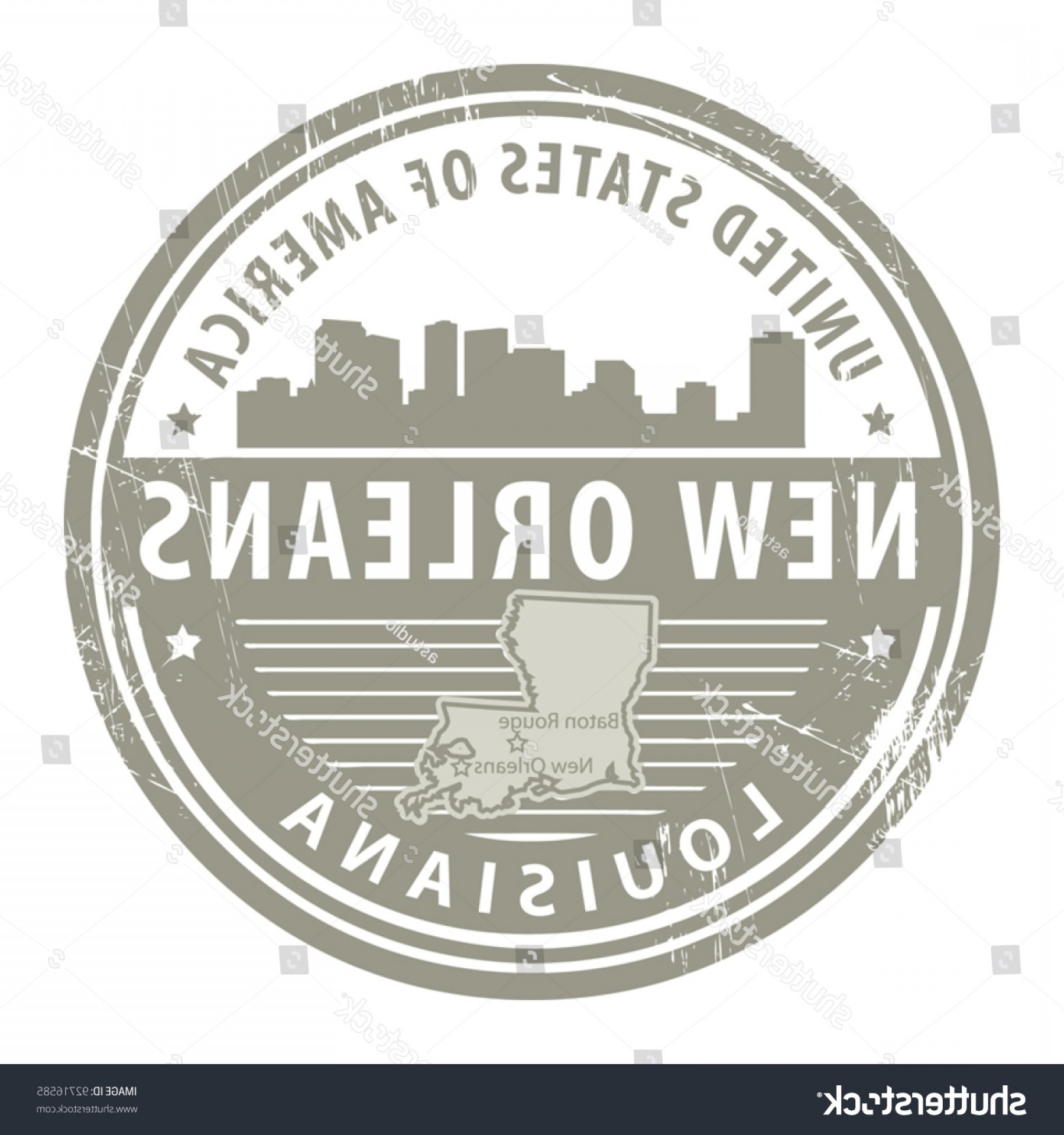 New Orleans Clip Art Vector Logo: Stamp Name Louisiana New Orleans Vector