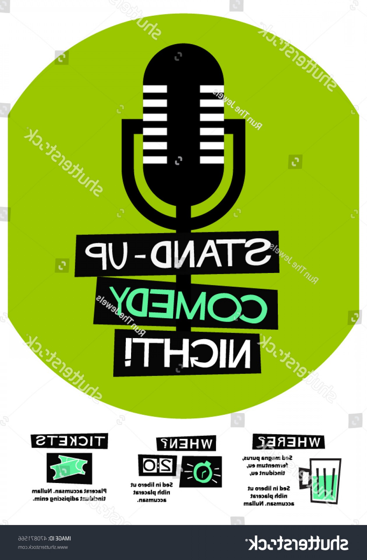 D Night Stanf Vector Graphic: Stand Comedy Night Flat Style Vector