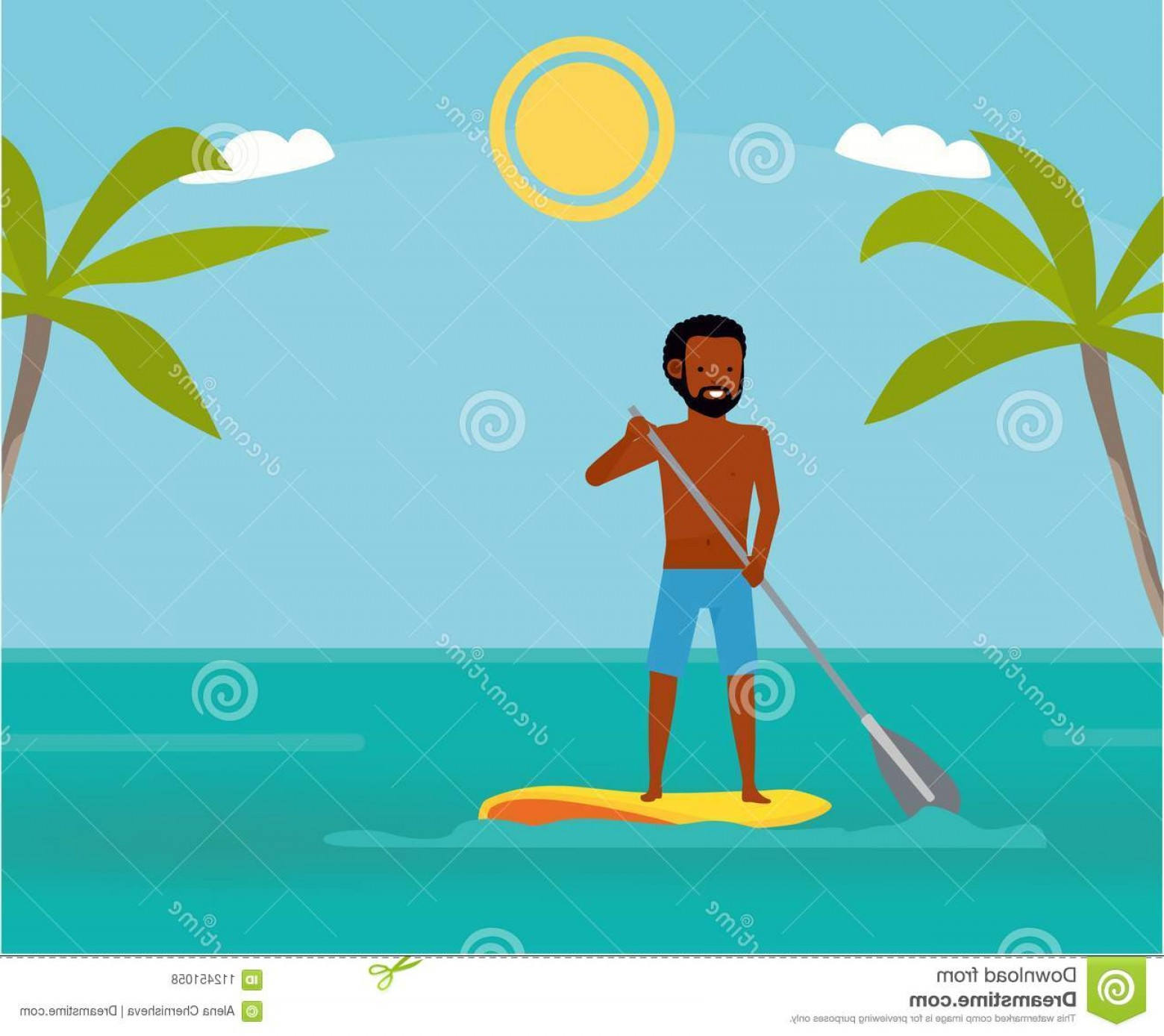 Stand Up Paddle Boarder Vector: Stand Up Paddle Boarder Exercising Ocean Summer Vacation Cartoon Vector Illustration Sea Tour African American Family Flat Image