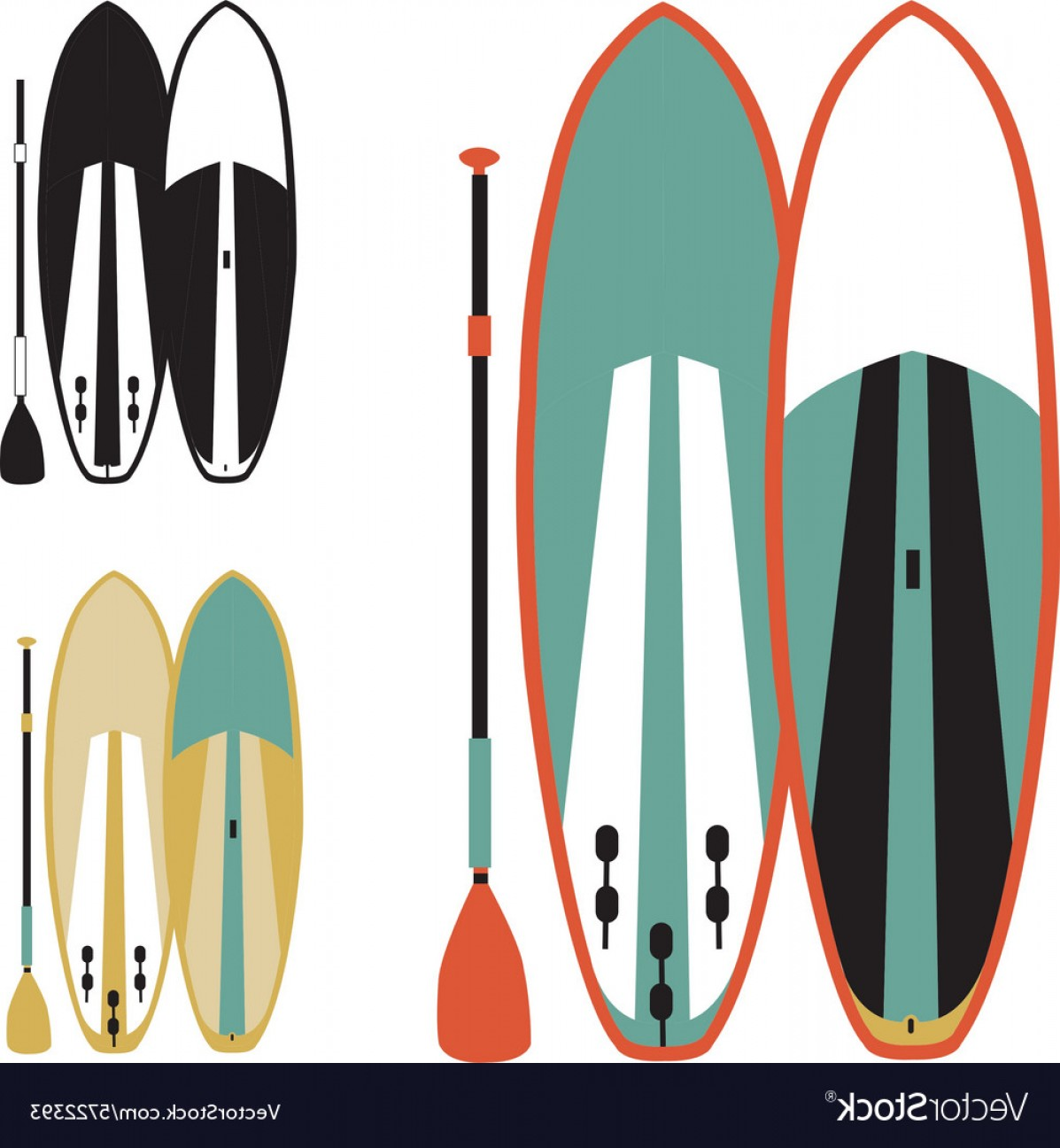 Paddleboard Vector Icons: Stand Up Paddle Boards Vector