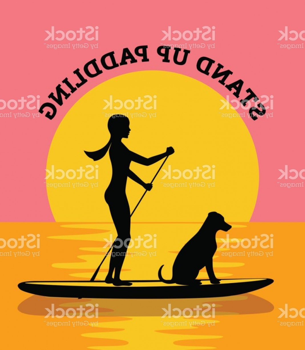 Stand Up Paddle Boarder Vector: Stand Up Paddleboard At Sunset Vector Illustration Woman And Dog Silhouette Gm
