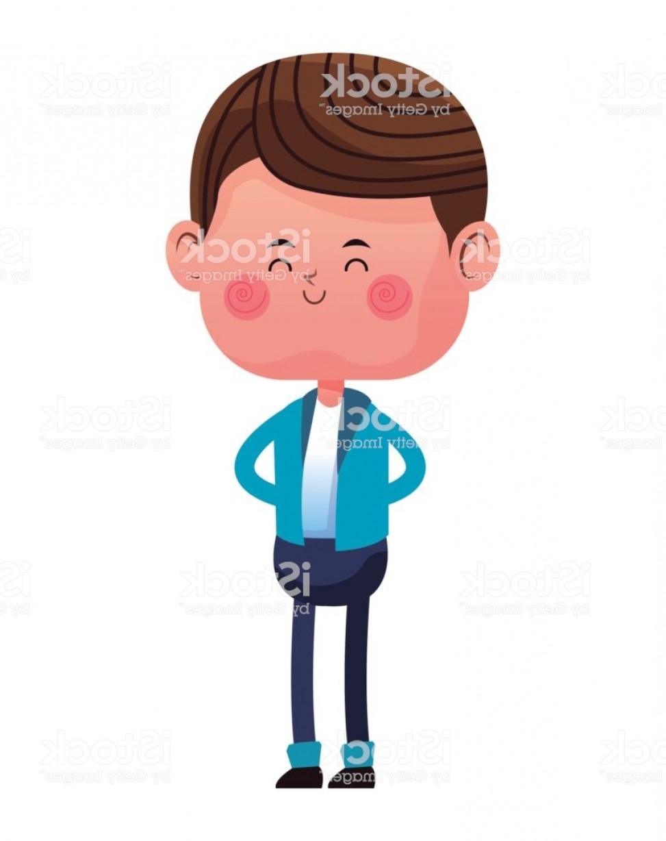 Male Eyes Vector Graphic: Standing Boy With Blue Pants Jacket Closed Eyes Gm