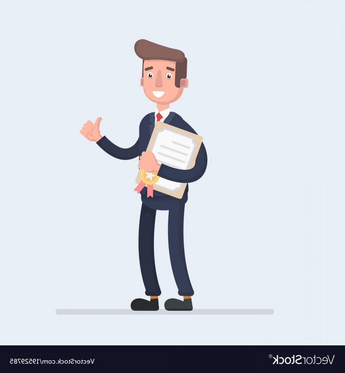 Standing Diploma Vector: Standing Business Man Holding Certificate Or Vector