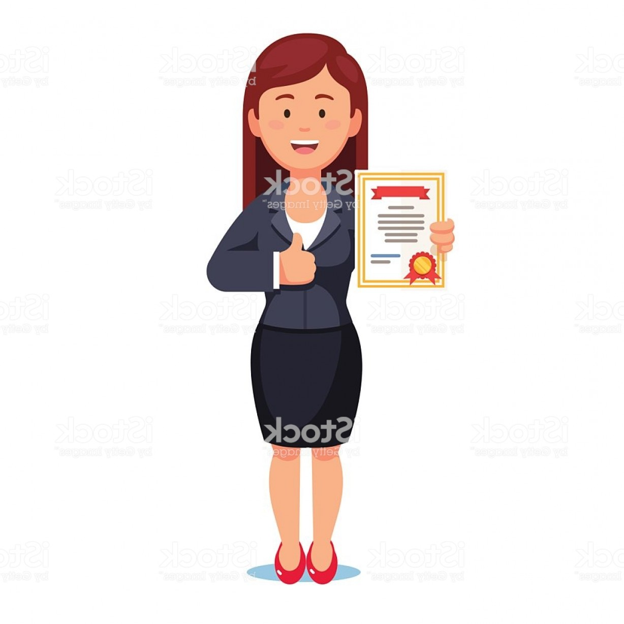 Standing Diploma Vector: Standing Business Woman Holding Certificate Gm