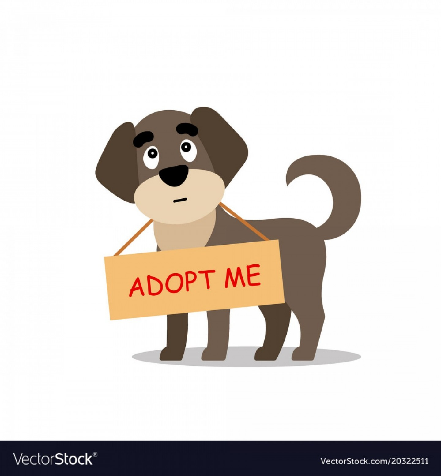 Adoption Art Animal Vector: Standing Dog With A Poster Adopt Me Dont Buy Vector