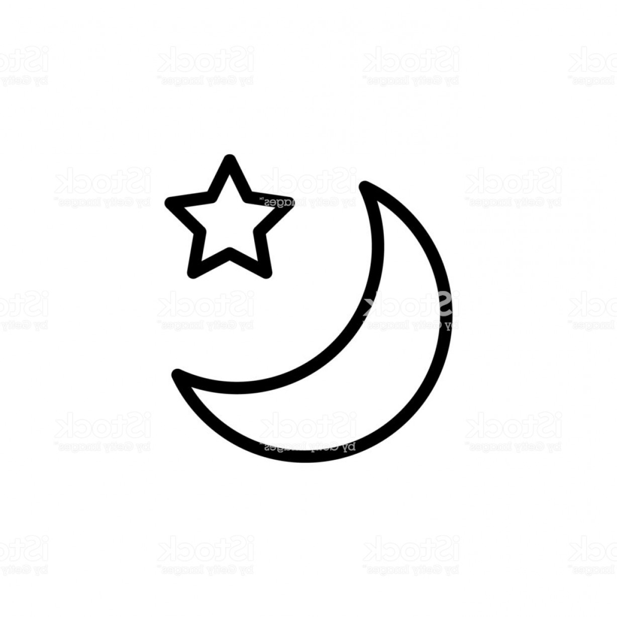 Simple Moon Vector Art: Star And Crescent Moon Icon Element Of Simple Icon For Websites Web Design Mobile Gm