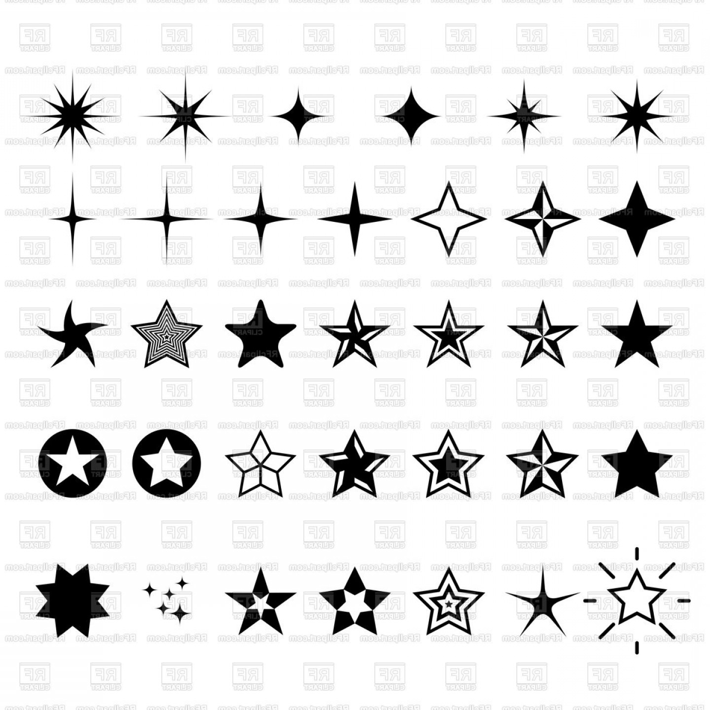 Free Vector Star: Star Icons Rating Rank And Decor Star Symbols Vector Clipart