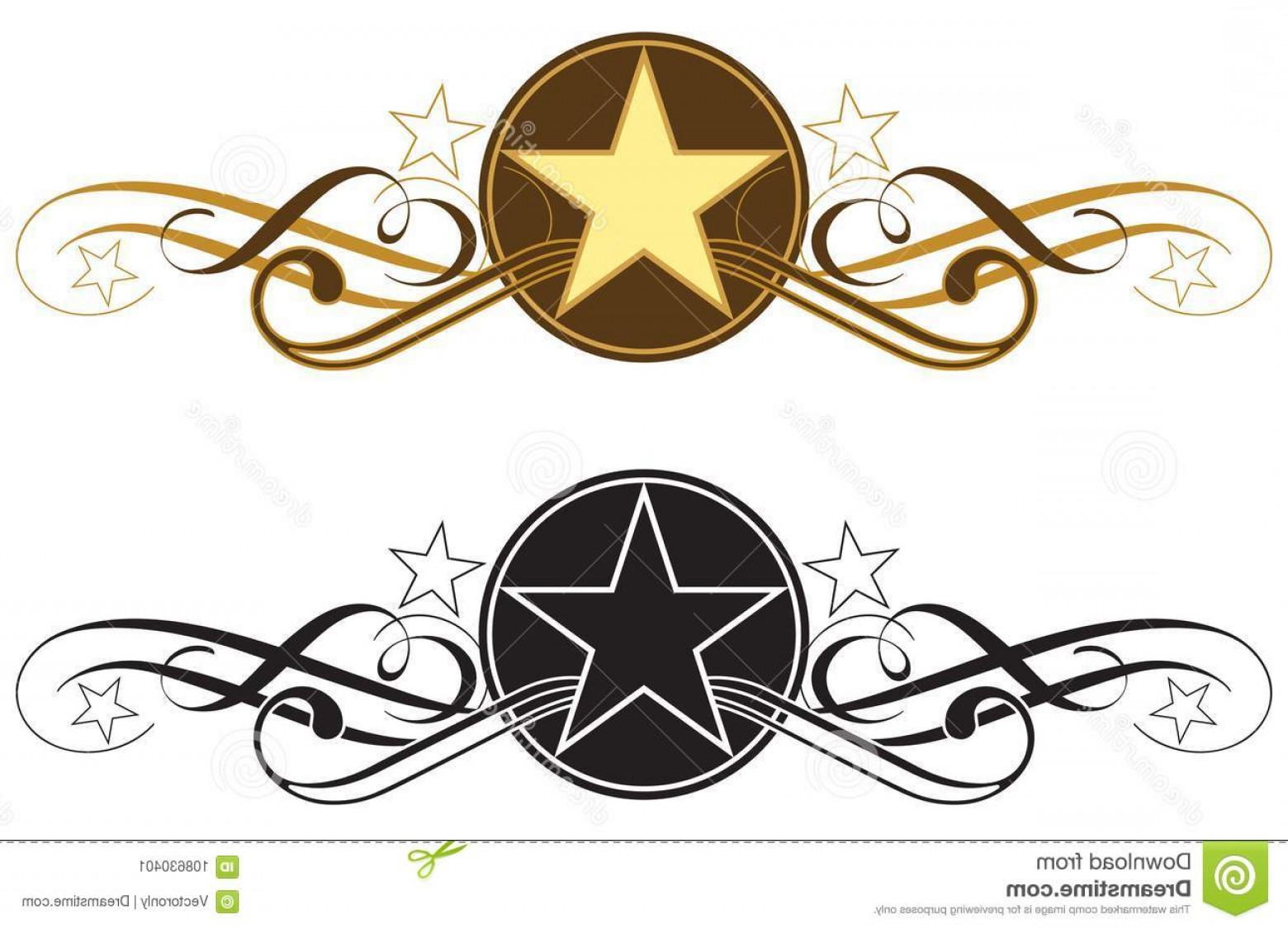 Western Star Vector Graphics: Star Scroll Border Western Type Vector Illustraration Illustration Like Divider White Background Image