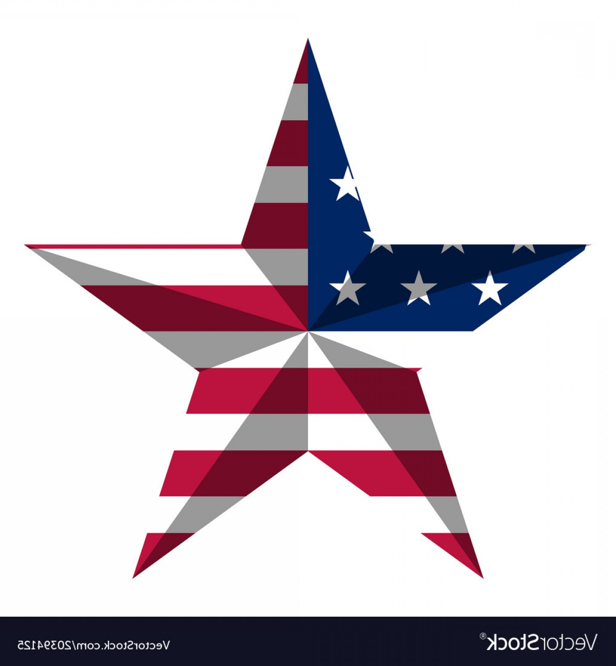 American Flag Stars Only Vector: Star Shape With American Flag Vector