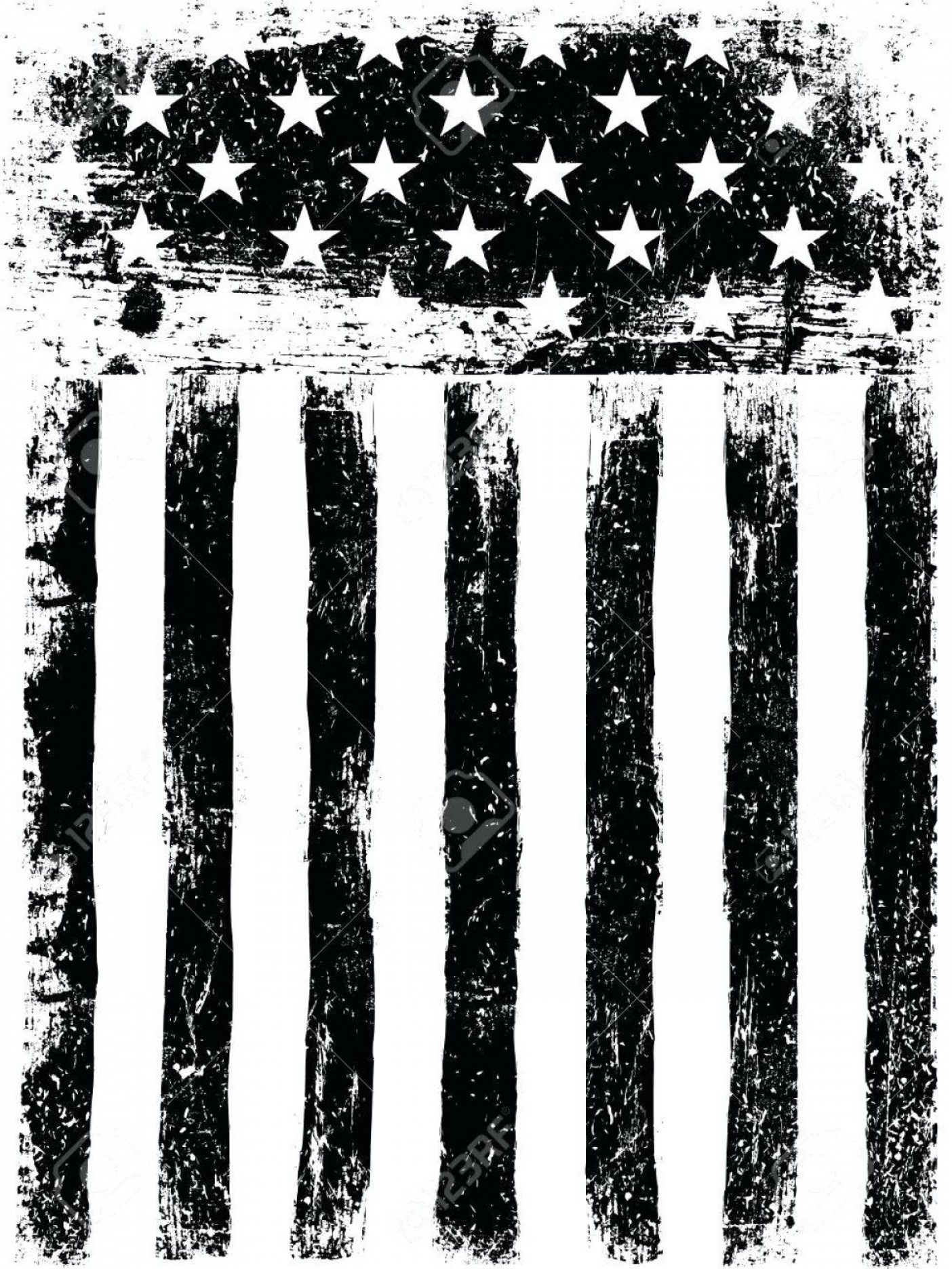 Vertical American Flag Vector: Star Template For American Flag Stars And Stripes Monochrome Photocopy Background Grunge Aged Vector Vertical Printable