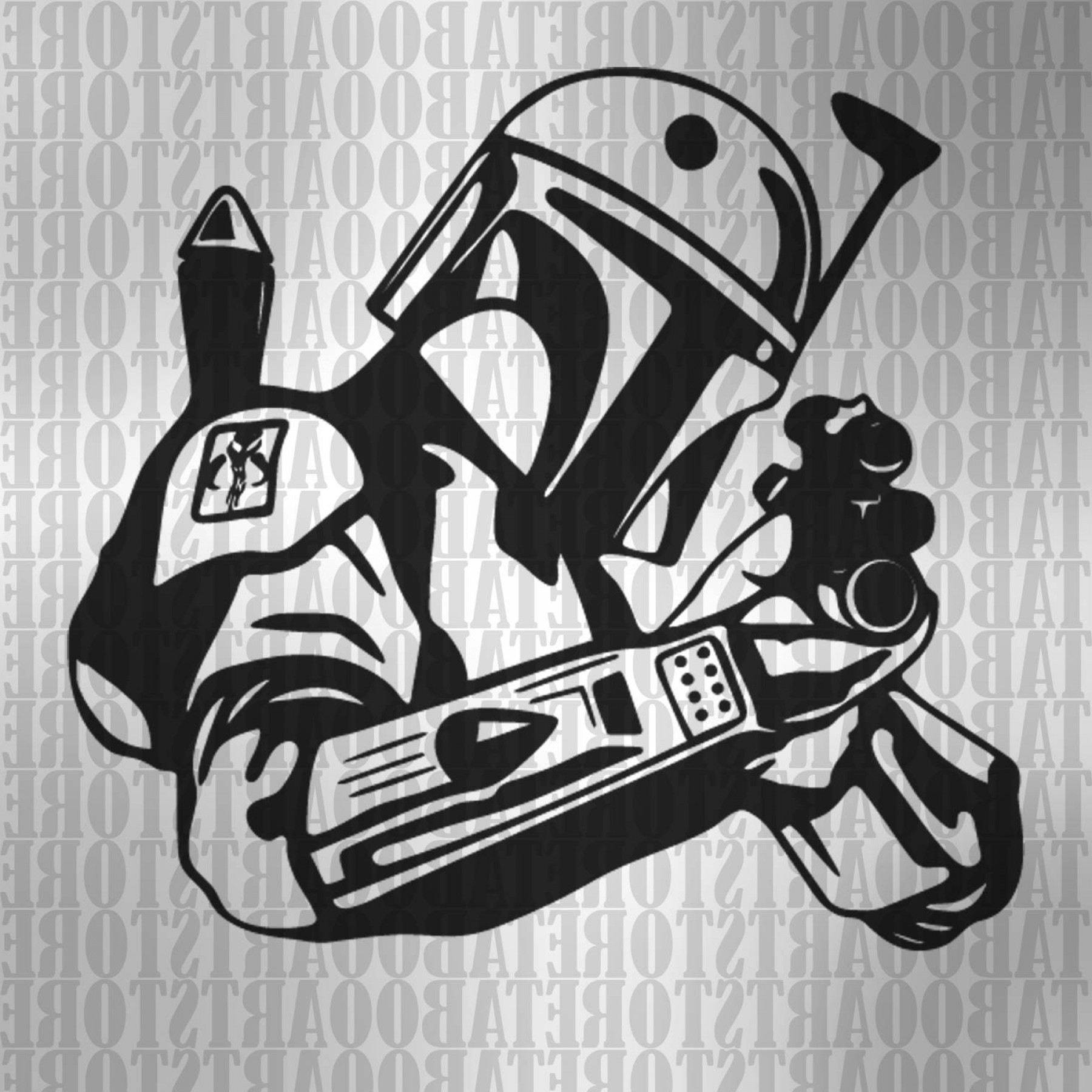 Boba Fett Vector Black And White: Star Wars Clipart Boba Fett Svg Star