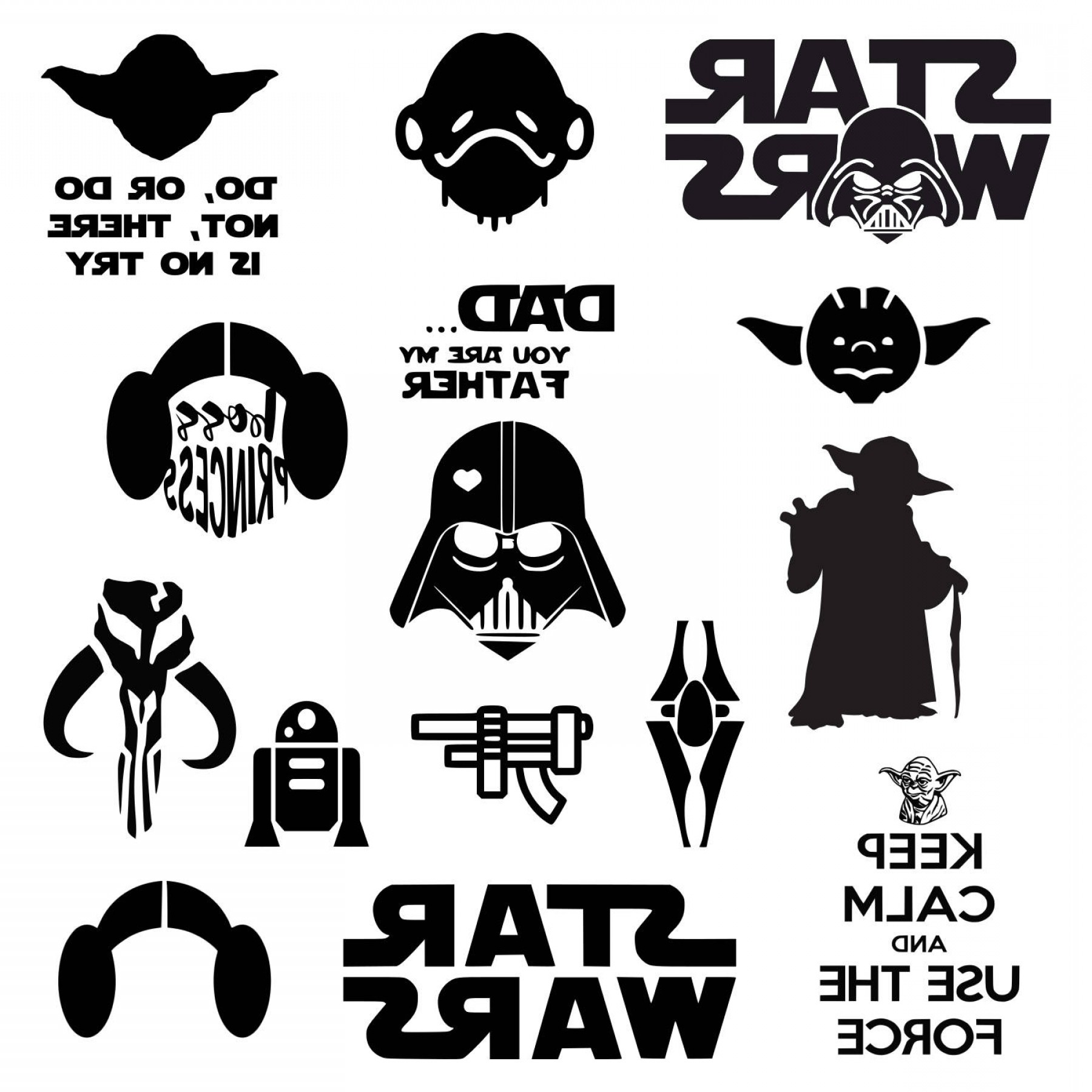 Boba Fett Vector Black And White: Star Wars Svg Darth Vader Svg Master