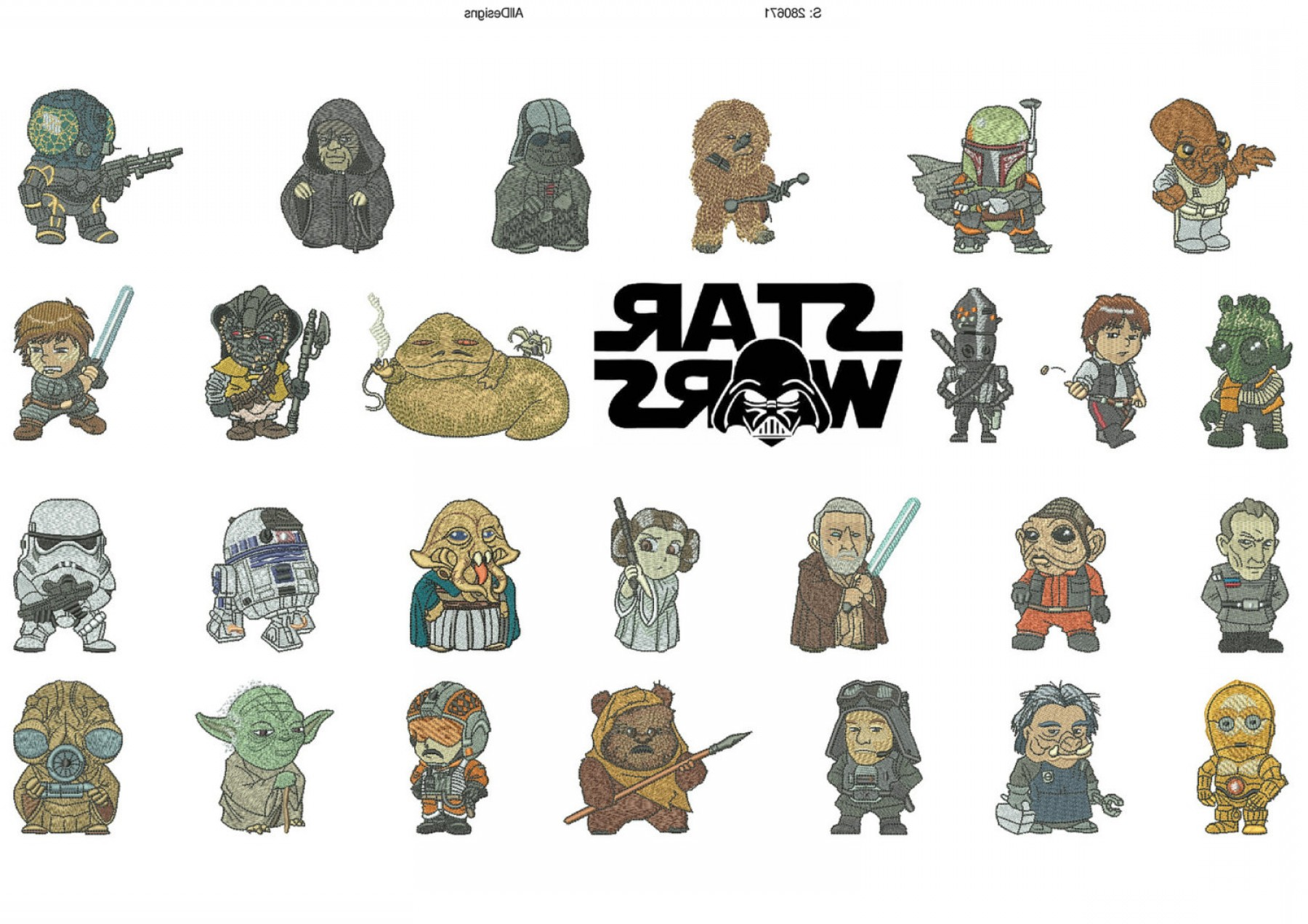 Chewbacca Vector Flat Design: Star Wars Z Characters Alphabet Machine Embroidery Designs