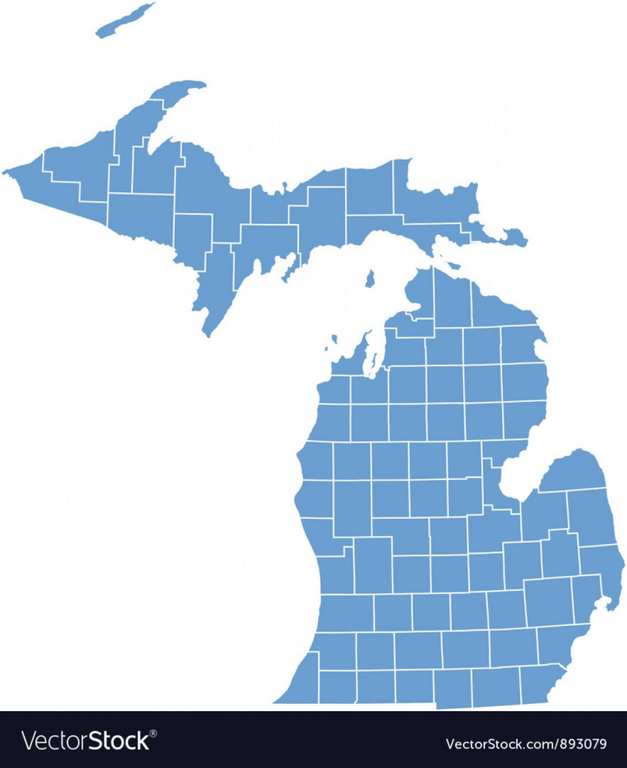 WI County Map Vector: State Map Of Michigan By Counties Vector